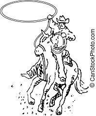 művészet, cowboy, rodeó, western, egyenes, lovas