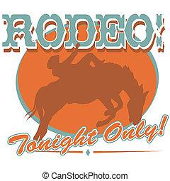 művészet, csíptet, cowboy, aláír, rodeó, western