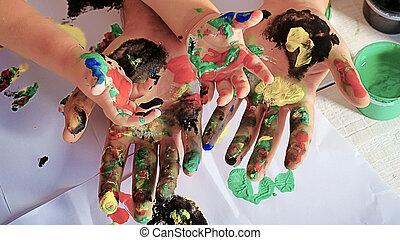 művészet, család, kézbesít, figyelmeztet, education., együtt, boldogság, paints., színes, ujjak, paint., vidám, boldog, szülő, look., öröm, rajz, gyermek, gyermekkor, gyerekek, ?olorful, rajz