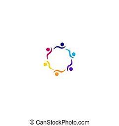 művészet, elszigetelt, fehér, artwork, jel, együtt, színes, emberek, jelkép, aláír