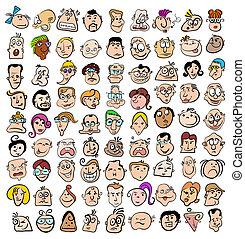 művészet, emberek, szórakozottan firkálgat, ikonok, arc, betűk, kifejezés, karikatúra, boldog