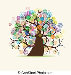 művészet, fa, képzelet