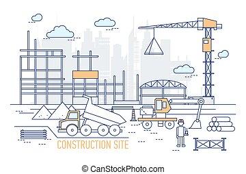 művészet, felhőkarcoló, lerak, nehéz, házhely, style., constructed, terület, épület, háttér., csereüzlet, konstruál, kalap, fárasztó, ábra, szerkesztés, egyenes, kubikos, ellen, körvonal, vektor, daru, vagy