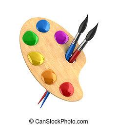 művészet, fest, fából való, paletta