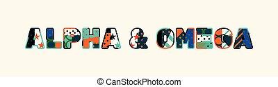 művészet, fogalom, szó, &, ábra, alpha omega