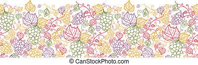 művészet, motívum, seamless, szőlőtőke, háttér, szőlő, egyenes, horizontális