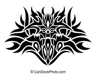 művészet, törzsi, tetovál, démon, csíptet, fekete