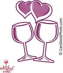 művészi ábra, wineglasses