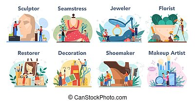 művészi, kiegészít, foglalkozás, helyreállító, szobrász, set., virágárus