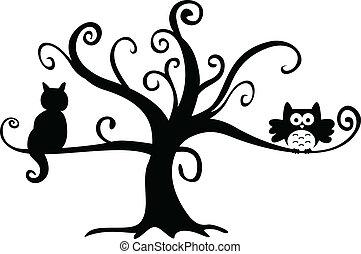 macska, éjszaka, fa, mindenszentek napjának előestéje, bagoly