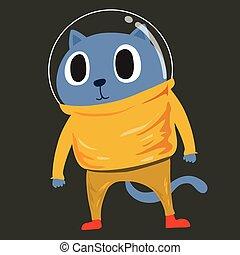 macska, űrhajós ruha
