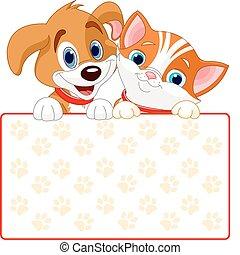 macska, aláír, kutya