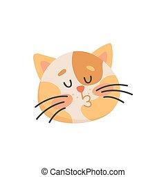 macska, emoticon, cica, elszigetelt, pofa, csókol, csókolózás