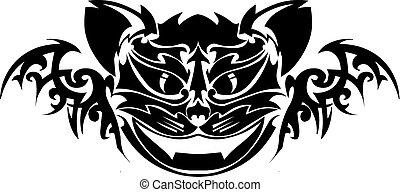 macska, engraving., szüret, tervezés, tetovál