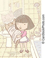 macska, fürdőszoba, kevés, neki, leány