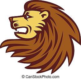 macska, fej, fametszet, nagy, oroszlán