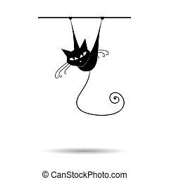 macska, fekete, -e, tervezés, árnykép
