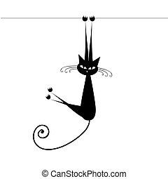macska, fekete, -e, tervezés, furcsa, árnykép
