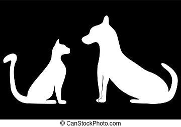 macska, körvonal, kutya