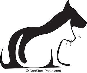 macska, körvonal, kutya, jel