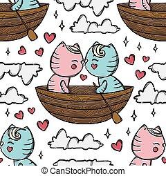 macska, karikatúra, csónakázik, motívum, seamless, vektor, csókol, ábra