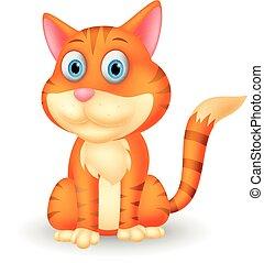 macska, karikatúra, csinos