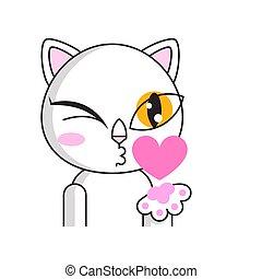 macska, látszik, csinos, levegő, pislog, csókol
