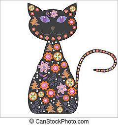 macska, meglehetősen, árnykép, flo