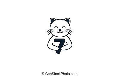 macska, szám 7, egyenes, vektor