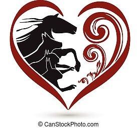 macska, szív, ló, virágos, jel, kutya