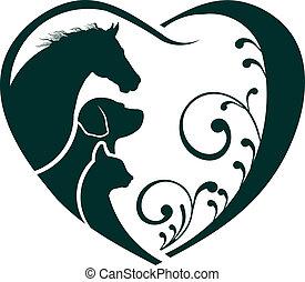 macska, szív, szeret, ló, jel, kutya