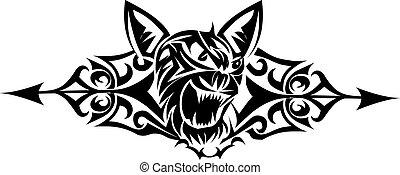 macska, vad, engraving., szüret, tervezés, tetovál