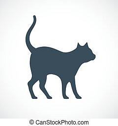 macska, vektor, árnykép, ikon