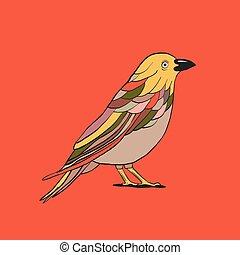 madár, áttekintés, ábra, vektor, háttér, ikon, piros