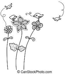 madár, háttér, csinos, virágos
