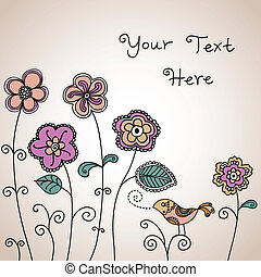 madár, háttér, virágos, szín