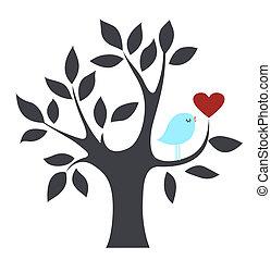 madár, szeret, fa