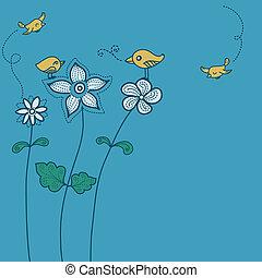 madár, virágos, háttér elpirul, csinos