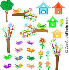 madarak, birdhouses, állhatatos, bitófák