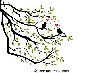 madarak, elágazik, fa, szeret