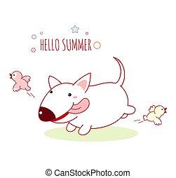 madarak, fehér, csinos, fut, megrémítő, kövér, kutya