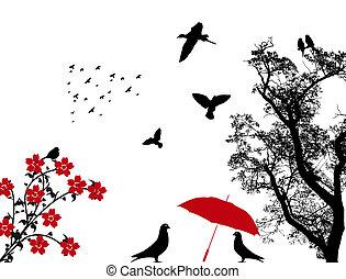 madarak, háttér
