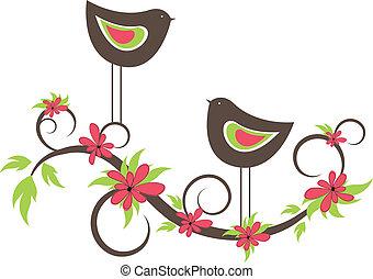 madarak, két, vektor, love.