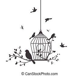 madarak, színes, fa