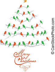 madarak, vektor, fa, karácsony