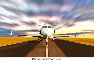 magán, elmaszatol javasol, bevétel, sugárhajtású repülőgép, el, repülőgép