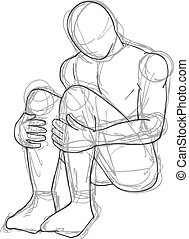 magányos, ember, rajzol
