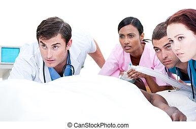 magabiztos, resuscitating, türelmes, befog, orvosi