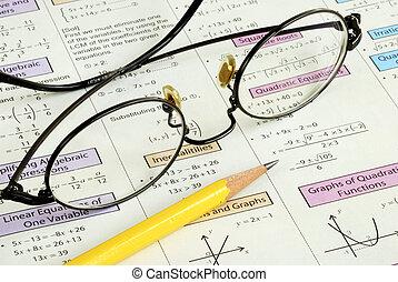 magas, ceruza, izbogis, néhány, matek