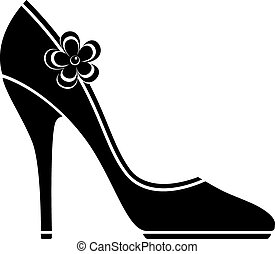 magas, cipők, megsarkal, (silhouette)
